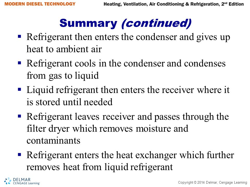 Copyright © 2014 Delmar, Cengage Learning Summary (continued)  Refrigerant then enters the condenser and gives up heat to ambient air  Refrigerant c