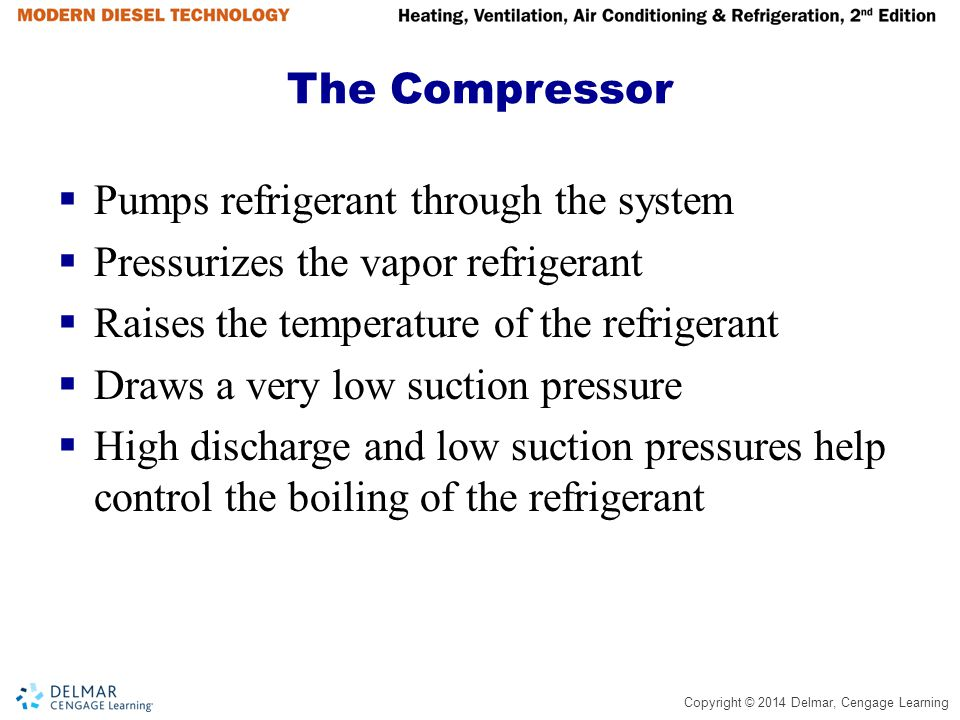 Copyright © 2014 Delmar, Cengage Learning Summary (continued)  Refrigerant flows from accumulator through suction line, through suction vibrasorber, through suction service valve, then through suction pressure regulator if equipped  Regulator controls the load placed on the engine or electric motor  Refrigerant flows out suction pressure regulator into suction side of compressor  The refrigerant is then compressed and starts the journey again