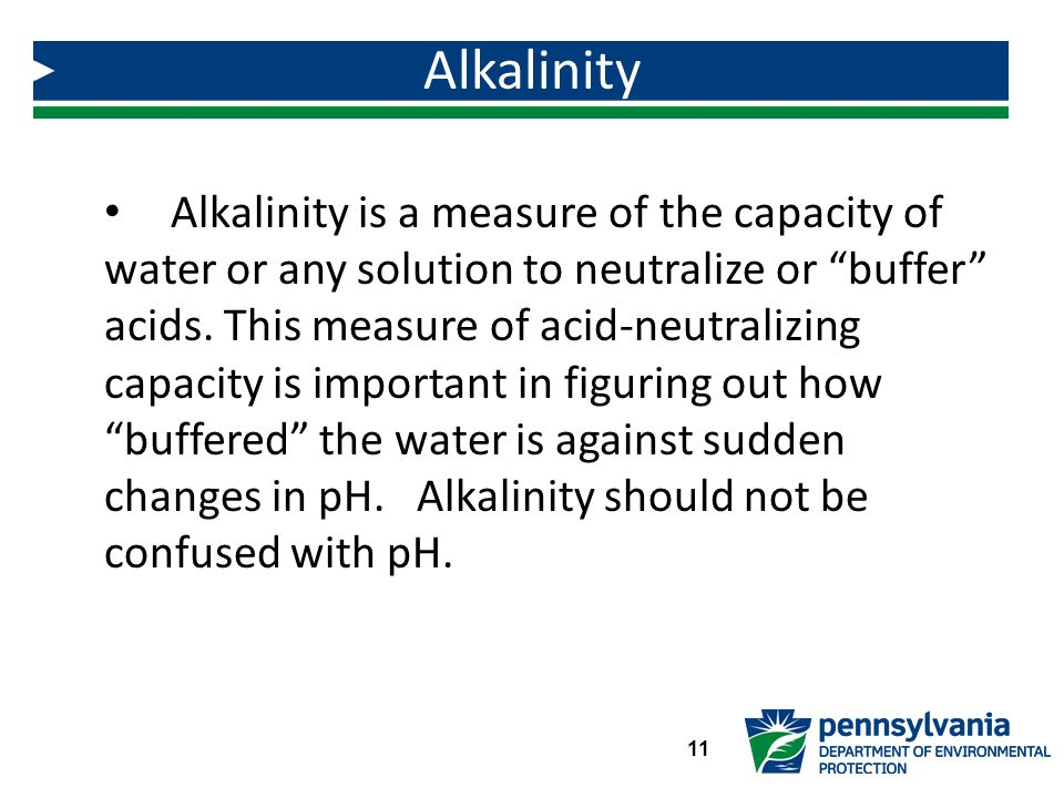 Alkalinity is a measure of the capacity of water or any solution to neutralize or buffer acids.