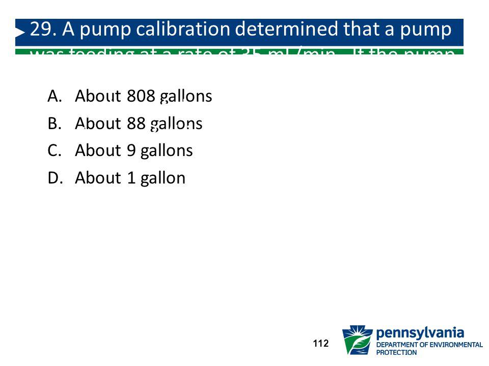 A.About 808 gallons B.About 88 gallons C.About 9 gallons D.About 1 gallon 29.
