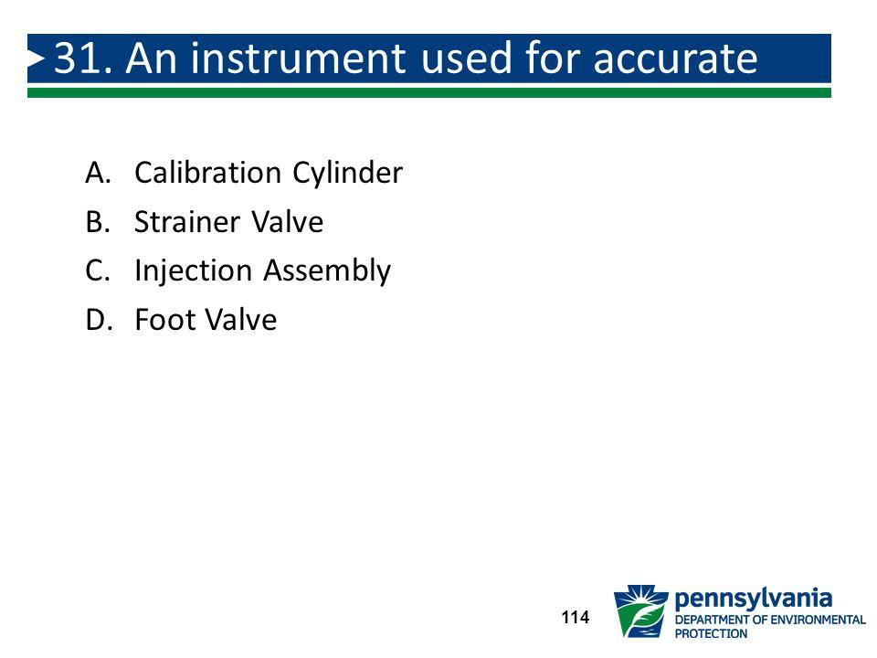 A.Calibration Cylinder B.Strainer Valve C.Injection Assembly D.Foot Valve 31.