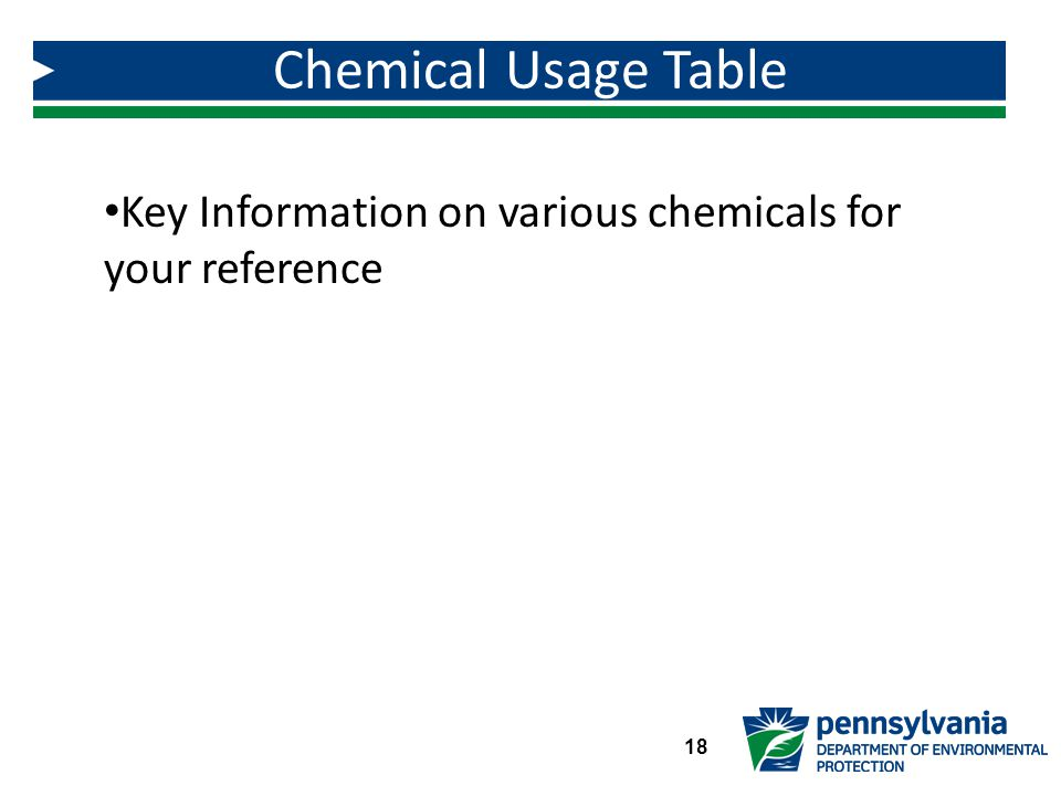 Key Information on various chemicals for your reference Chemical Usage Table 18