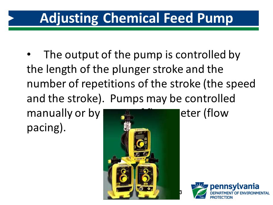 The output of the pump is controlled by the length of the plunger stroke and the number of repetitions of the stroke (the speed and the stroke).