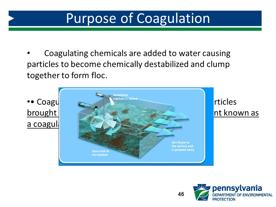 Coagulating chemicals are added to water causing particles to become chemically destabilized and clump together to form floc.