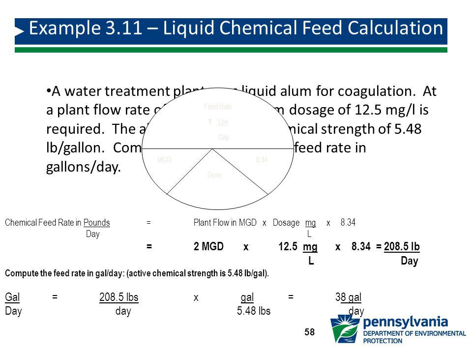 A water treatment plant uses liquid alum for coagulation.