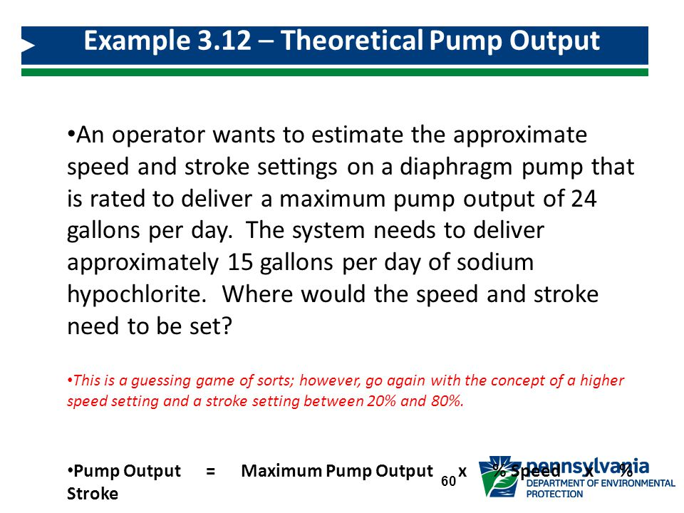 An operator wants to estimate the approximate speed and stroke settings on a diaphragm pump that is rated to deliver a maximum pump output of 24 gallons per day.
