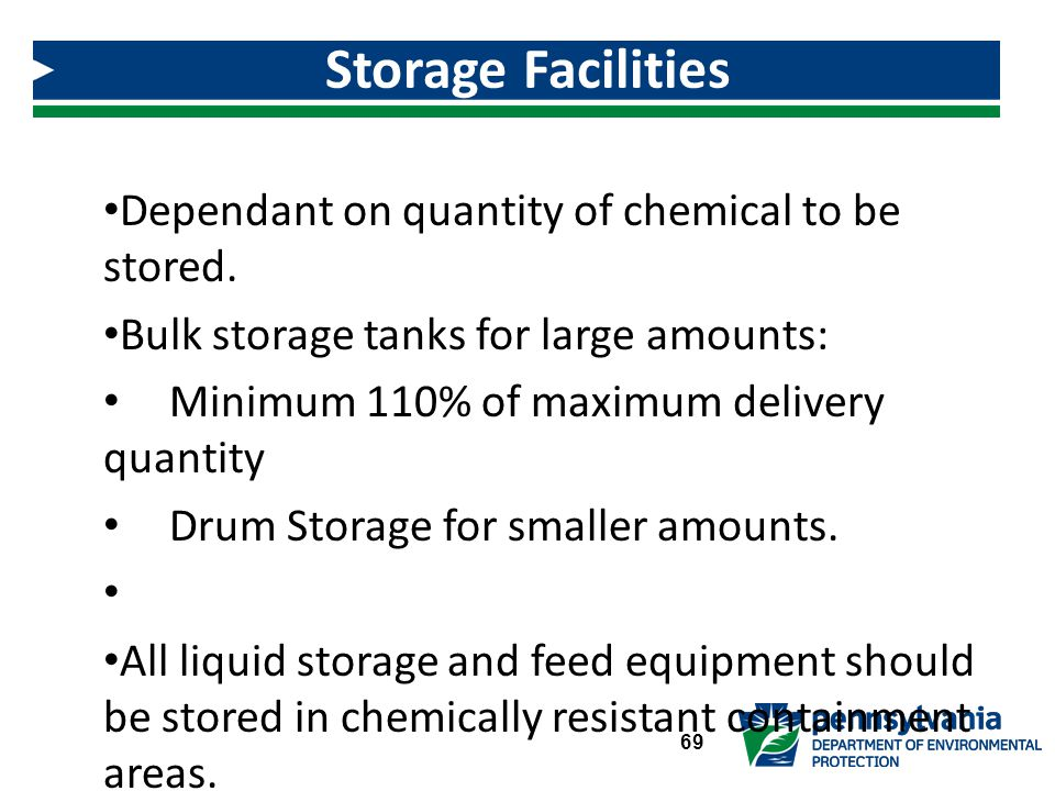 Dependant on quantity of chemical to be stored.