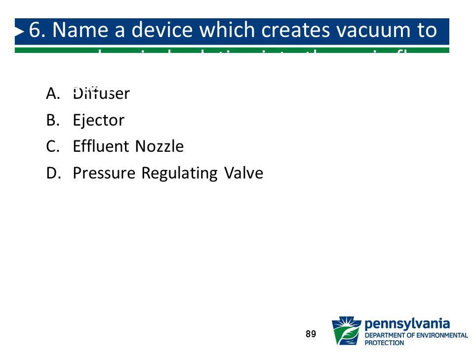A.Diffuser B.Ejector C.Effluent Nozzle D.Pressure Regulating Valve 6.