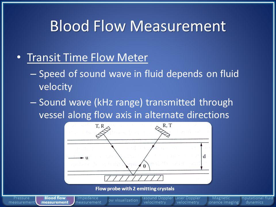 Blood Flow Measurement Transit Time Flow Meter Computational fluid dynamics Magnetic resonance imaging Laser Doppler velocimetry Ultrasound Doppler velocimetry Flow visualization Impedance measurement Pressure measurement Flow probe with 2 emitting crystals andwhere: