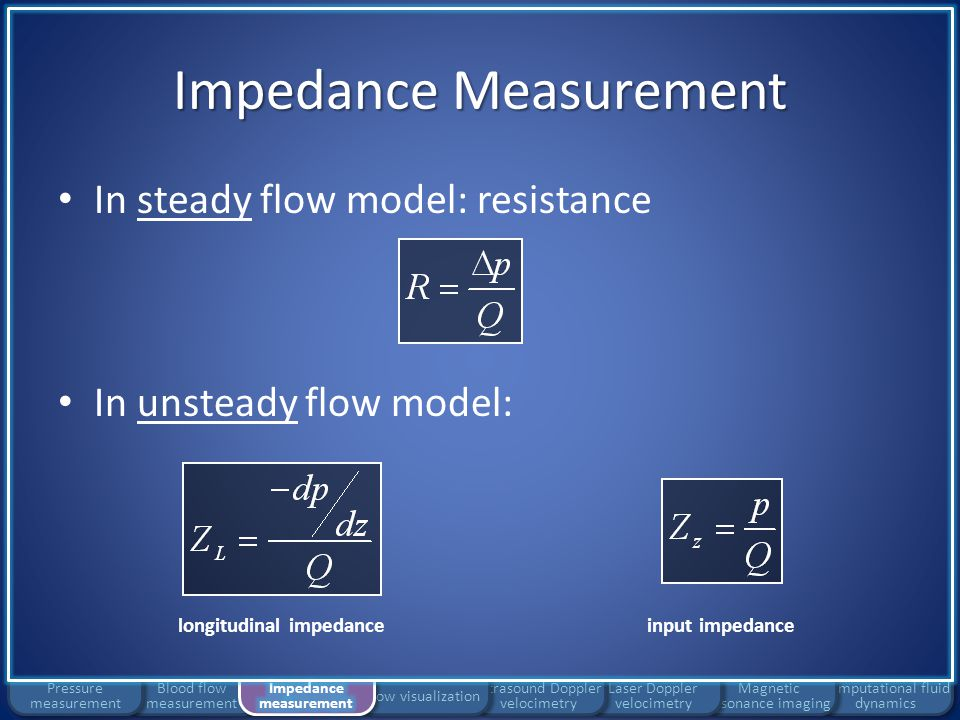 Impedance Measurement Longitudinal impedance – Analogous to vascular resistance defined in steady flow – Depends on local vessel properties Input impedance – Ratio of pressure and flow at a particular site – Depends on local and distal vessel properties Computational fluid dynamics Magnetic resonance imaging Laser Doppler velocimetry Ultrasound Doppler velocimetry Flow visualization Blood flow measurement Pressure measurement longitudinal impedanceinput impedance