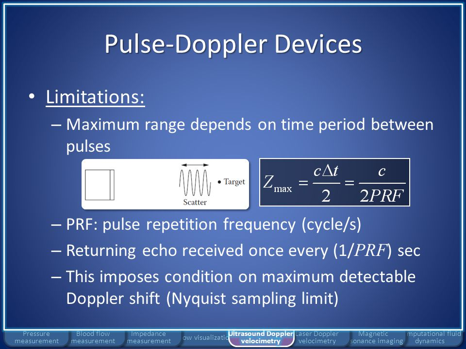 Flow visualization Impedance measurement Pulse-Doppler Devices Limitations: – Maximum range depends on time period between pulses – PRF: pulse repetit
