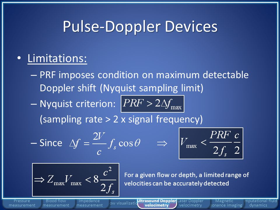 Flow visualization Impedance measurement Pulse-Doppler Devices Limitations: – PRF imposes condition on maximum detectable Doppler shift (Nyquist sampl