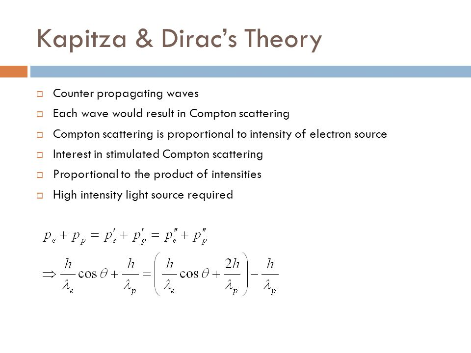 Kapitza & Dirac's Theory  Counter propagating waves  Each wave would result in Compton scattering  Compton scattering is proportional to intensity