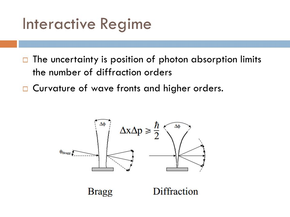 Interactive Regime  The uncertainty is position of photon absorption limits the number of diffraction orders  Curvature of wave fronts and higher or