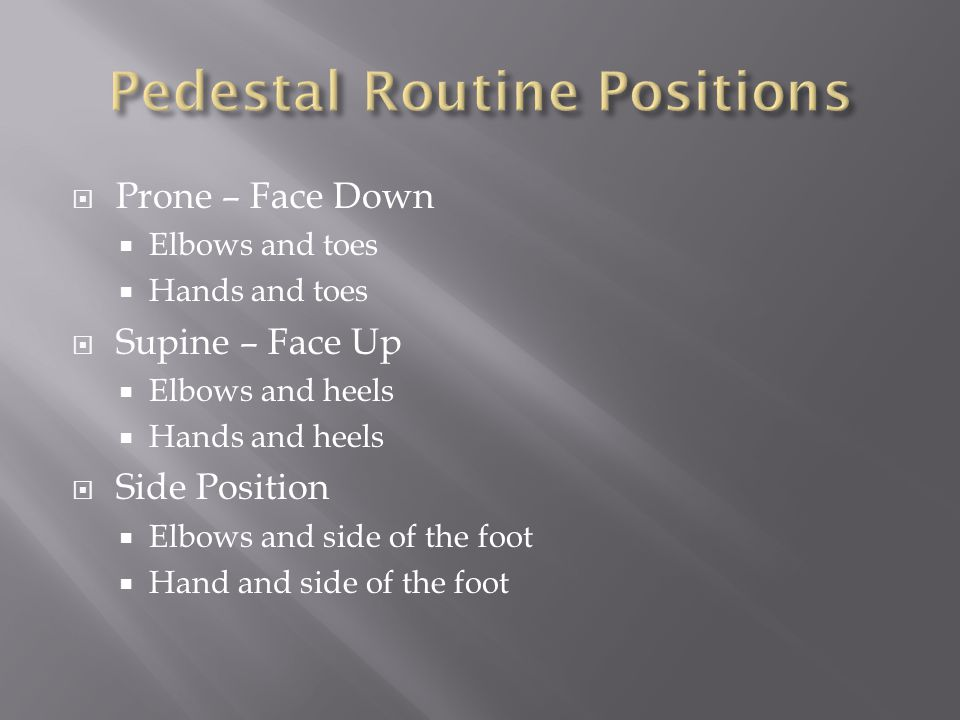  Prone – Face Down  Elbows and toes  Hands and toes  Supine – Face Up  Elbows and heels  Hands and heels  Side Position  Elbows and side of the foot  Hand and side of the foot