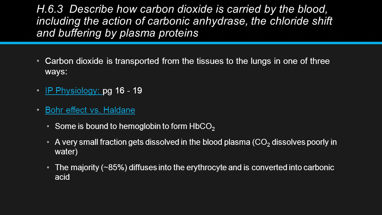 H.6.3 Describe how carbon dioxide is carried by the blood, including the action of carbonic anhydrase, the chloride shift and buffering by plasma proteins Carbon dioxide is transported from the tissues to the lungs in one of three ways: IP Physiology: pg 16 - 19IP Physiology: Bohr effect vs.