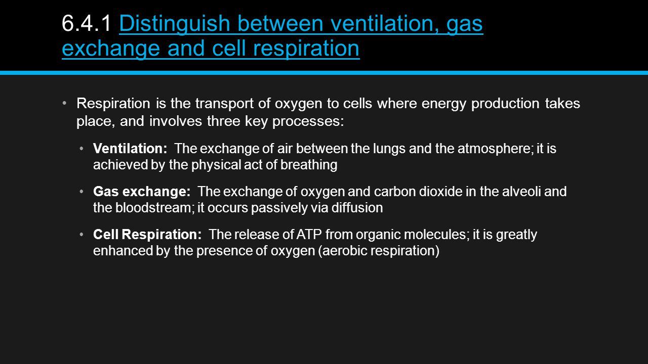 6.4.1 Distinguish between ventilation, gas exchange and cell respirationDistinguish between ventilation, gas exchange and cell respiration Respiration is the transport of oxygen to cells where energy production takes place, and involves three key processes: Ventilation: The exchange of air between the lungs and the atmosphere; it is achieved by the physical act of breathing Gas exchange: The exchange of oxygen and carbon dioxide in the alveoli and the bloodstream; it occurs passively via diffusion Cell Respiration: The release of ATP from organic molecules; it is greatly enhanced by the presence of oxygen (aerobic respiration)