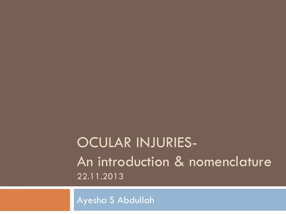 OCULAR INJURIES- An introduction & nomenclature 22.11.2013 Ayesha S Abdullah