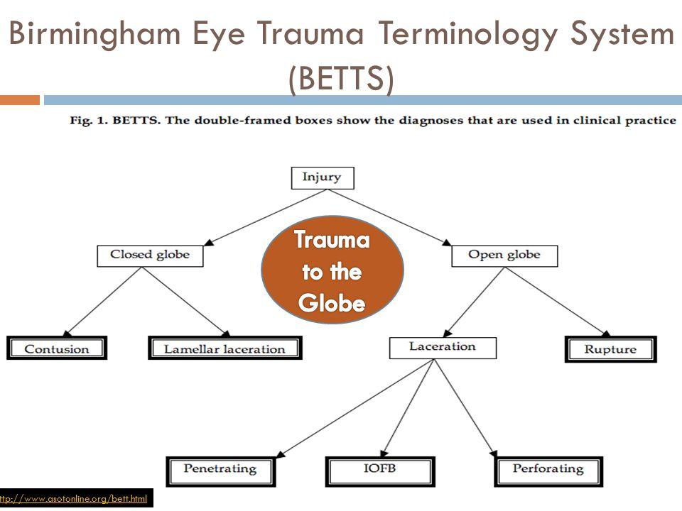 Birmingham Eye Trauma Terminology System (BETTS) http://www.asotonline.org/bett.html