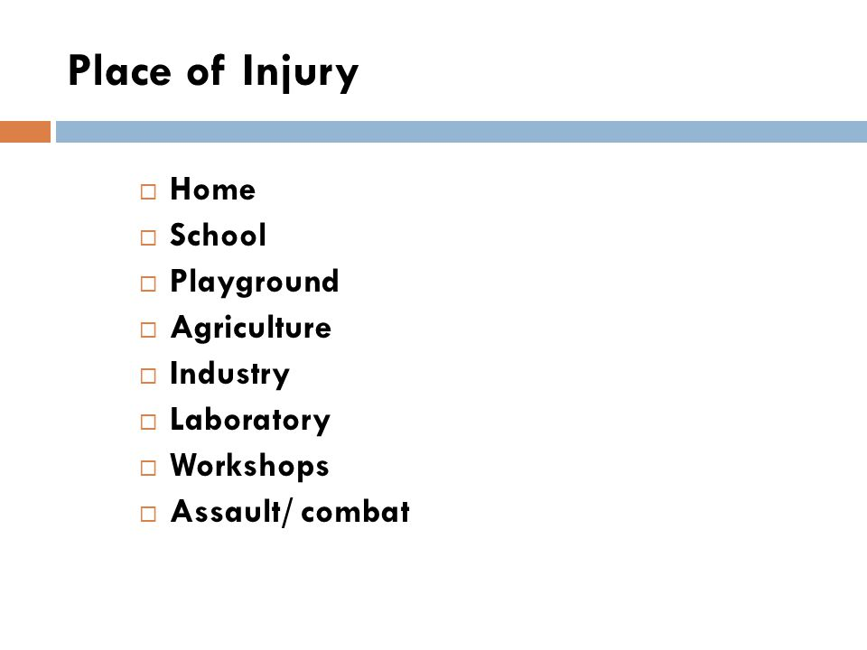 Place of Injury  Home  School  Playground  Agriculture  Industry  Laboratory  Workshops  Assault/ combat