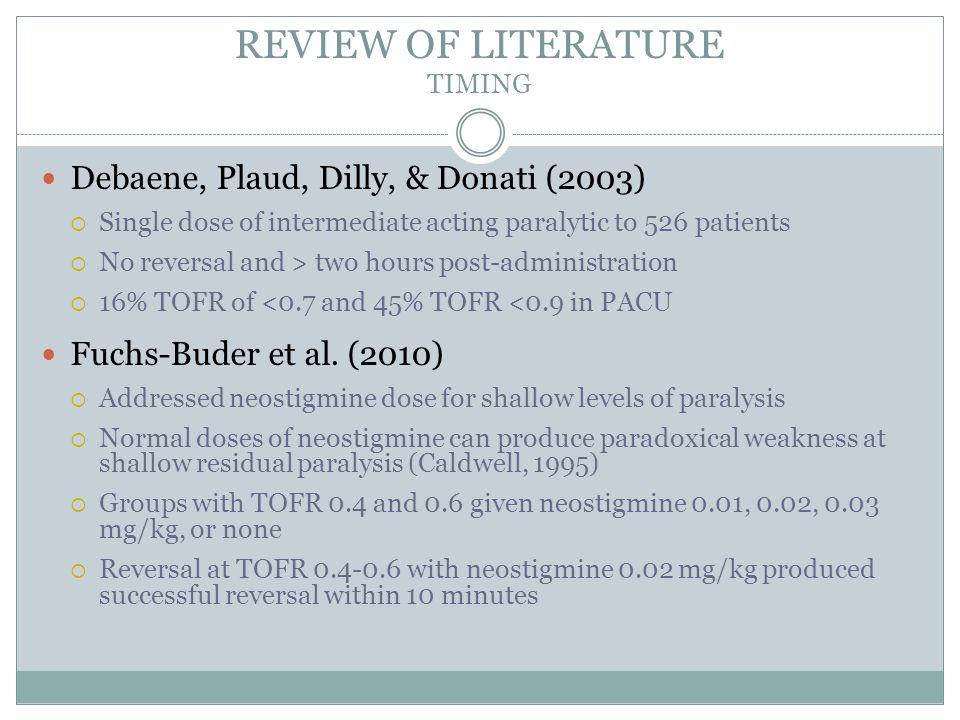 REVIEW OF LITERATURE TIMING Kim et al.