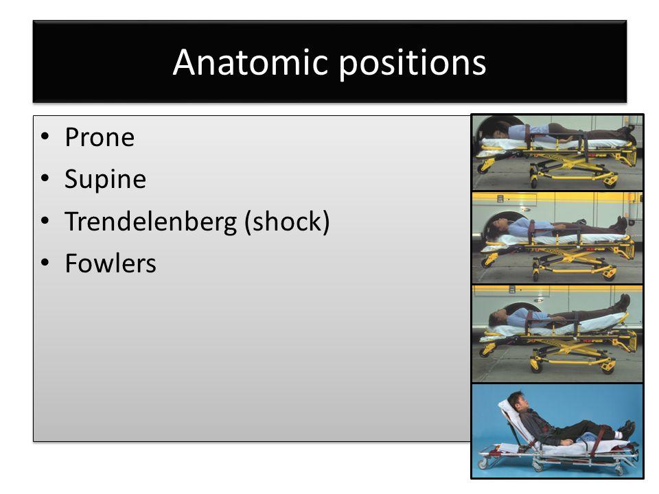Anatomic positions Prone Supine Trendelenberg (shock) Fowlers Prone Supine Trendelenberg (shock) Fowlers
