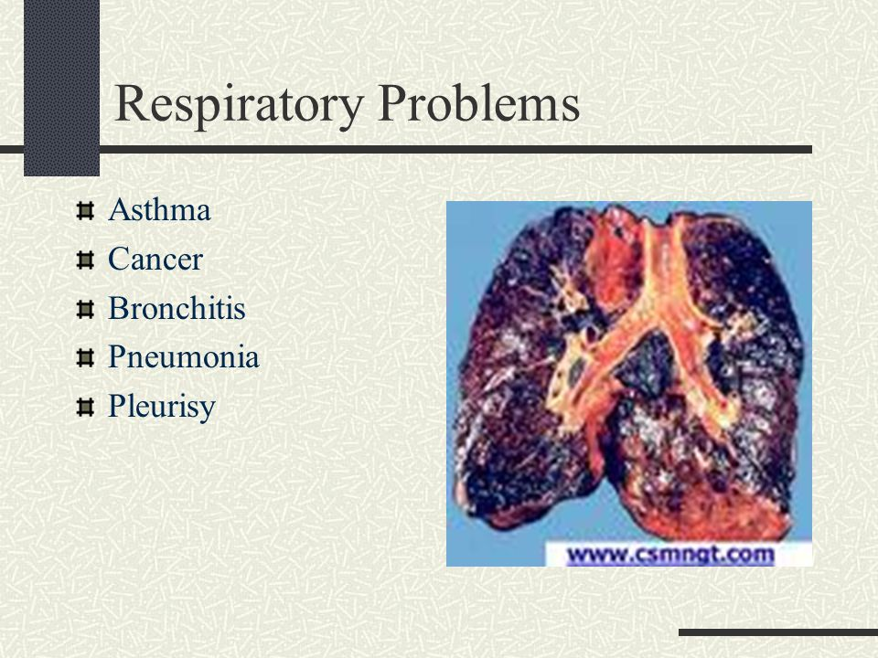 Respiratory Problems Asthma Cancer Bronchitis Pneumonia Pleurisy
