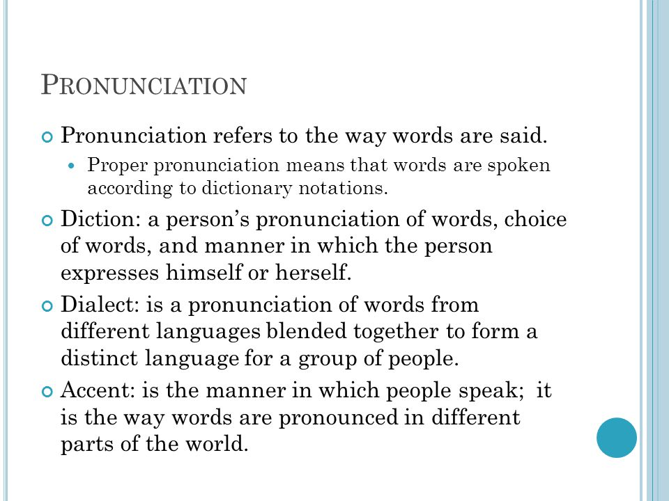 P RONUNCIATION Pronunciation refers to the way words are said.