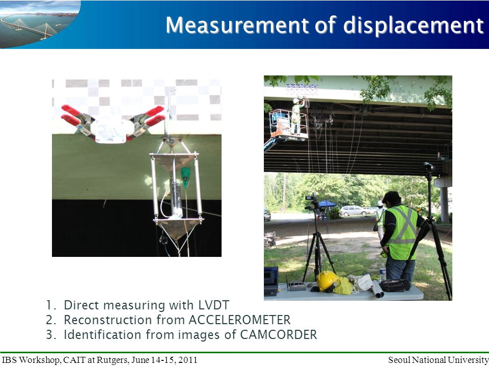 IBS Workshop, CAIT at Rutgers, June 14-15, 2011Seoul National University Measurement of displacement 1.Direct measuring with LVDT 2.Reconstruction from ACCELEROMETER 3.Identification from images of CAMCORDER