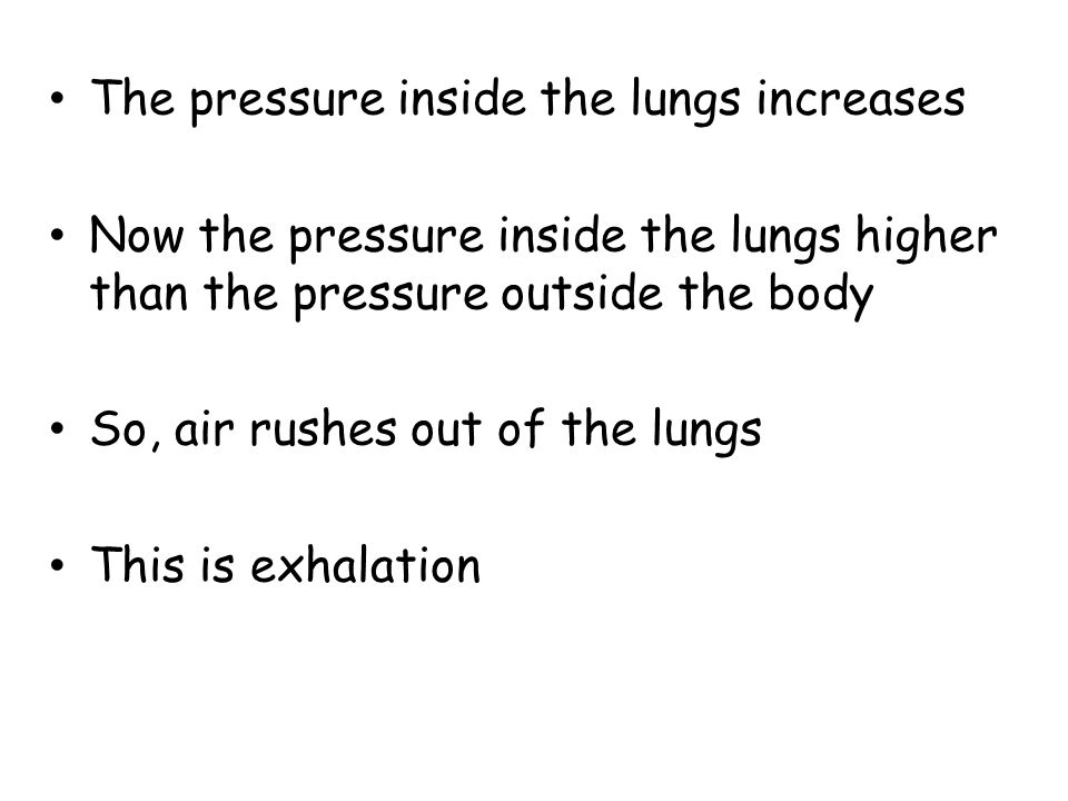The pressure inside the lungs increases Now the pressure inside the lungs higher than the pressure outside the body So, air rushes out of the lungs Th
