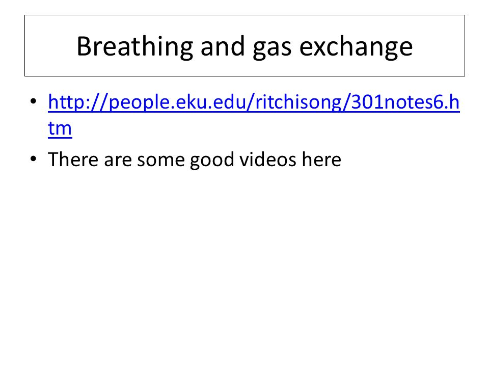 Breathing and gas exchange http://people.eku.edu/ritchisong/301notes6.h tm http://people.eku.edu/ritchisong/301notes6.h tm There are some good videos
