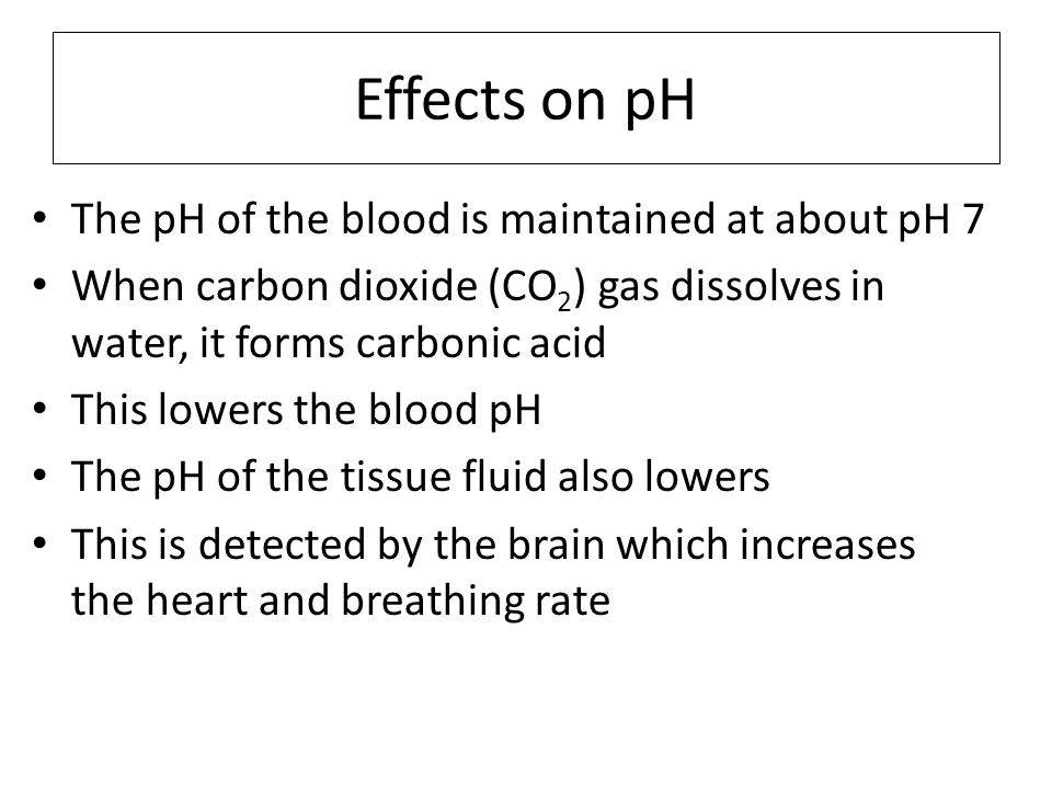 Effects on pH The pH of the blood is maintained at about pH 7 When carbon dioxide (CO 2 ) gas dissolves in water, it forms carbonic acid This lowers t