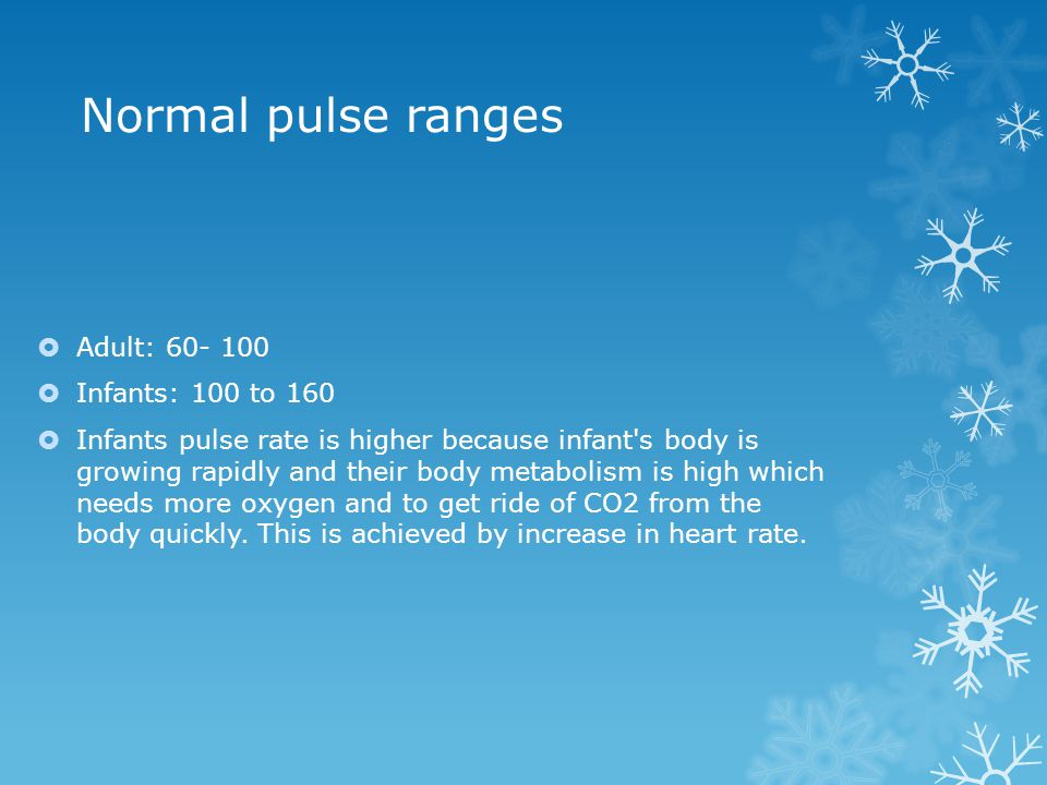 Normal pulse ranges  Adult: 60- 100  Infants: 100 to 160  Infants pulse rate is higher because infant's body is growing rapidly and their body meta
