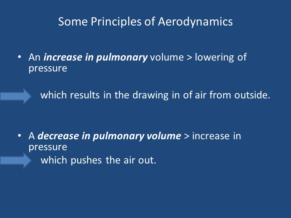 Some Principles of Aerodynamics An increase in pulmonary volume > lowering of pressure which results in the drawing in of air from outside. A decrease