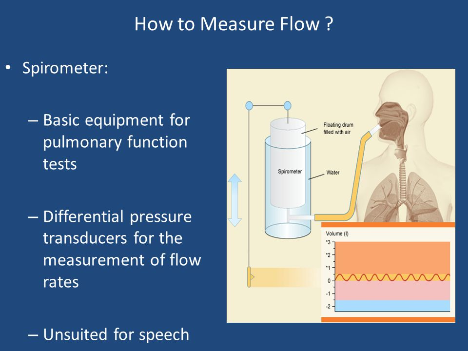 How to Measure Flow ? Spirometer: – Basic equipment for pulmonary function tests – Differential pressure transducers for the measurement of flow rates