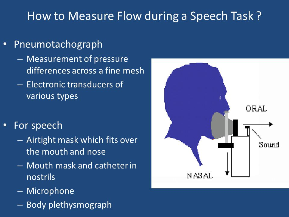How to Measure Flow during a Speech Task ? Pneumotachograph – Measurement of pressure differences across a fine mesh – Electronic transducers of vario