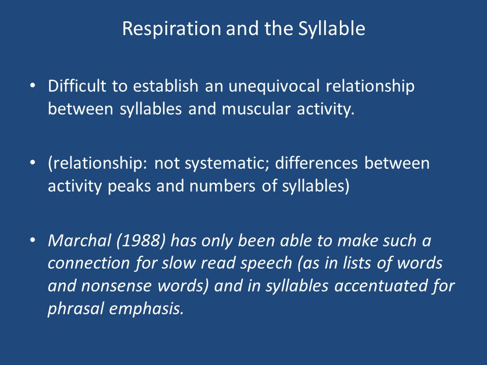 Respiration and the Syllable Variation of impedande of the supralaryngeal tract: Hypothesis of an aerodynamic influence by consonantal closure: in very rare cases, it may be that the chest movement is a continuous, slow controlled movement of expiration, and that the syllable is due to the holistic stroke of the consonant