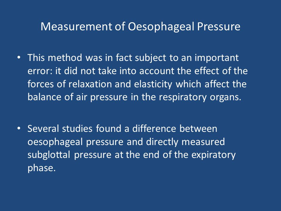 Measurement of Oesophageal Pressure This method was in fact subject to an important error: it did not take into account the effect of the forces of re