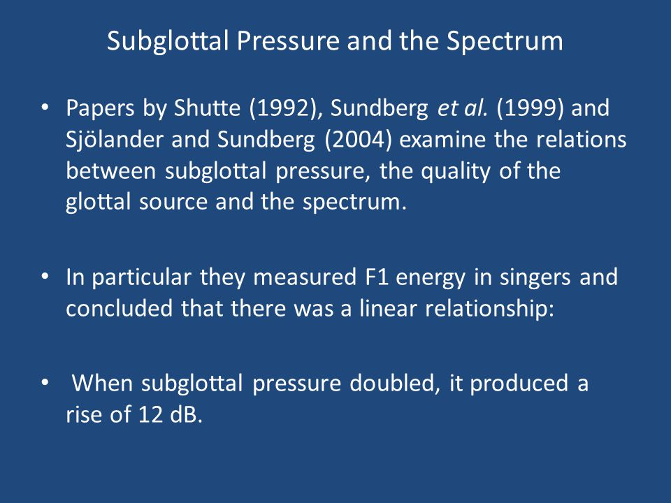 Subglottal Pressure and the Spectrum Papers by Shutte (1992), Sundberg et al. (1999) and Sjölander and Sundberg (2004) examine the relations between s