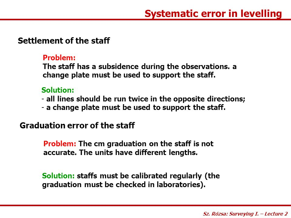 Systematic error in levelling Settlement of the staff Solution: - all lines should be run twice in the opposite directions; - a change plate must be u