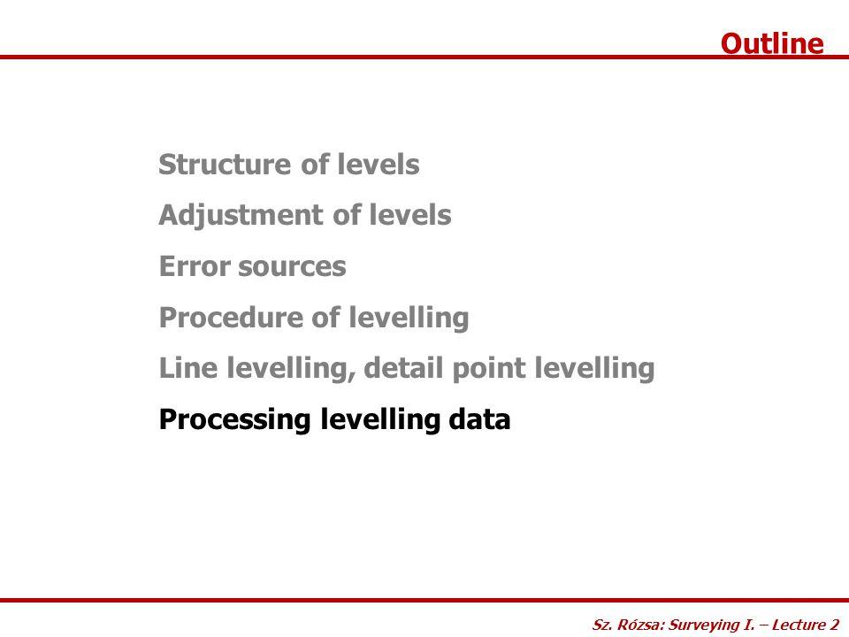 Outline Structure of levels Adjustment of levels Error sources Procedure of levelling Line levelling, detail point levelling Processing levelling data