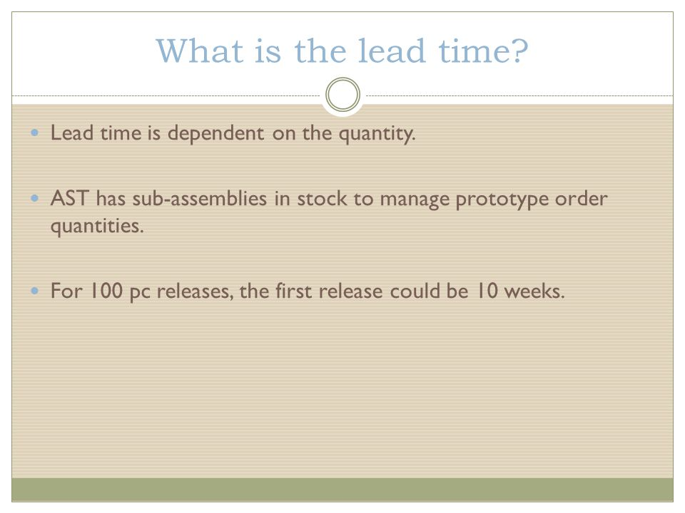What is the lead time. Lead time is dependent on the quantity.