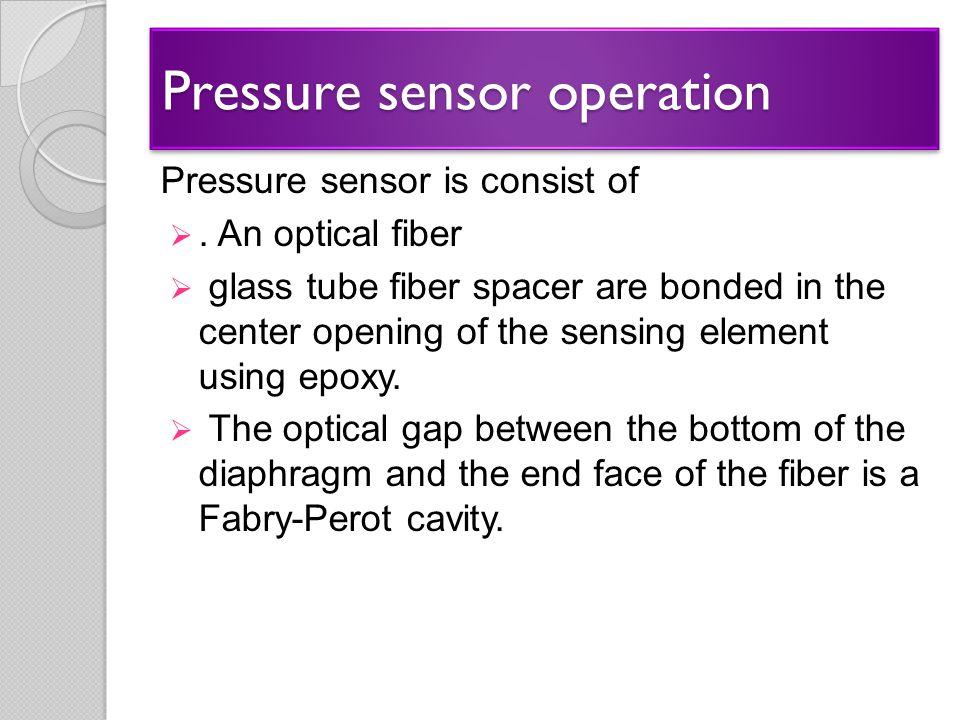 Pressure sensor operation Pressure sensor is consist of . An optical fiber  glass tube fiber spacer are bonded in the center opening of the sensing