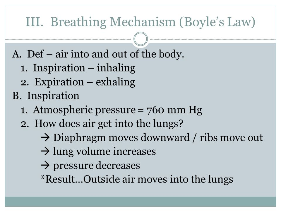 III. Breathing Mechanism (Boyle's Law) A. Def – air into and out of the body.