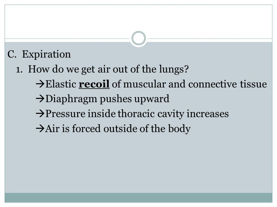 C. Expiration 1. How do we get air out of the lungs.