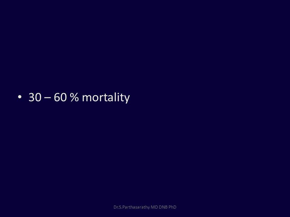 30 – 60 % mortality Dr.S.Parthasarathy MD DNB PhD