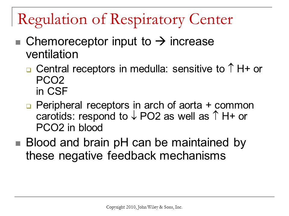Copyright 2010, John Wiley & Sons, Inc. Regulation of Respiratory Center Chemoreceptor input to  increase ventilation  Central receptors in medulla: