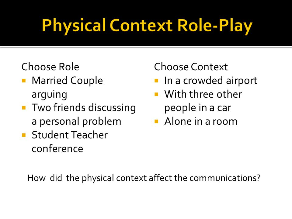 Choose Role  Married Couple arguing  Two friends discussing a personal problem  Student Teacher conference Choose Context  In a crowded airport  With three other people in a car  Alone in a room How did the physical context affect the communications