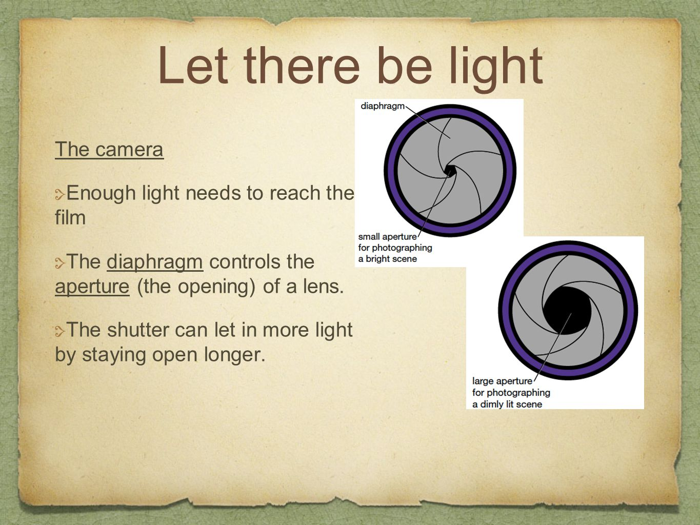 Let there be light The camera Enough light needs to reach the film The diaphragm controls the aperture (the opening) of a lens. The shutter can let in