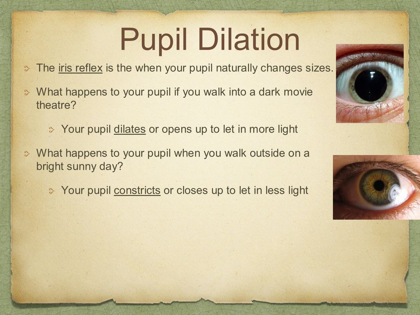 Pupil Dilation The iris reflex is the when your pupil naturally changes sizes. What happens to your pupil if you walk into a dark movie theatre? Your